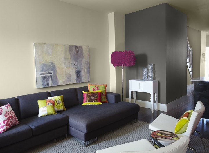 Small Living Room Design With Best Paint Color Of Gray And White Ombre Style Black