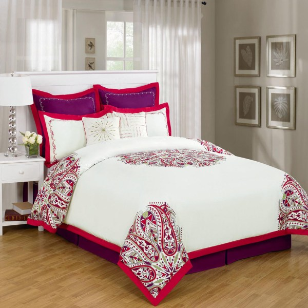 Red and White Comforter Sets Queen