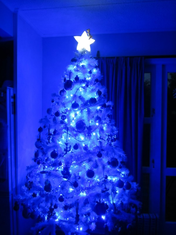white christmas tree with blue lights - Blue And White Christmas Tree