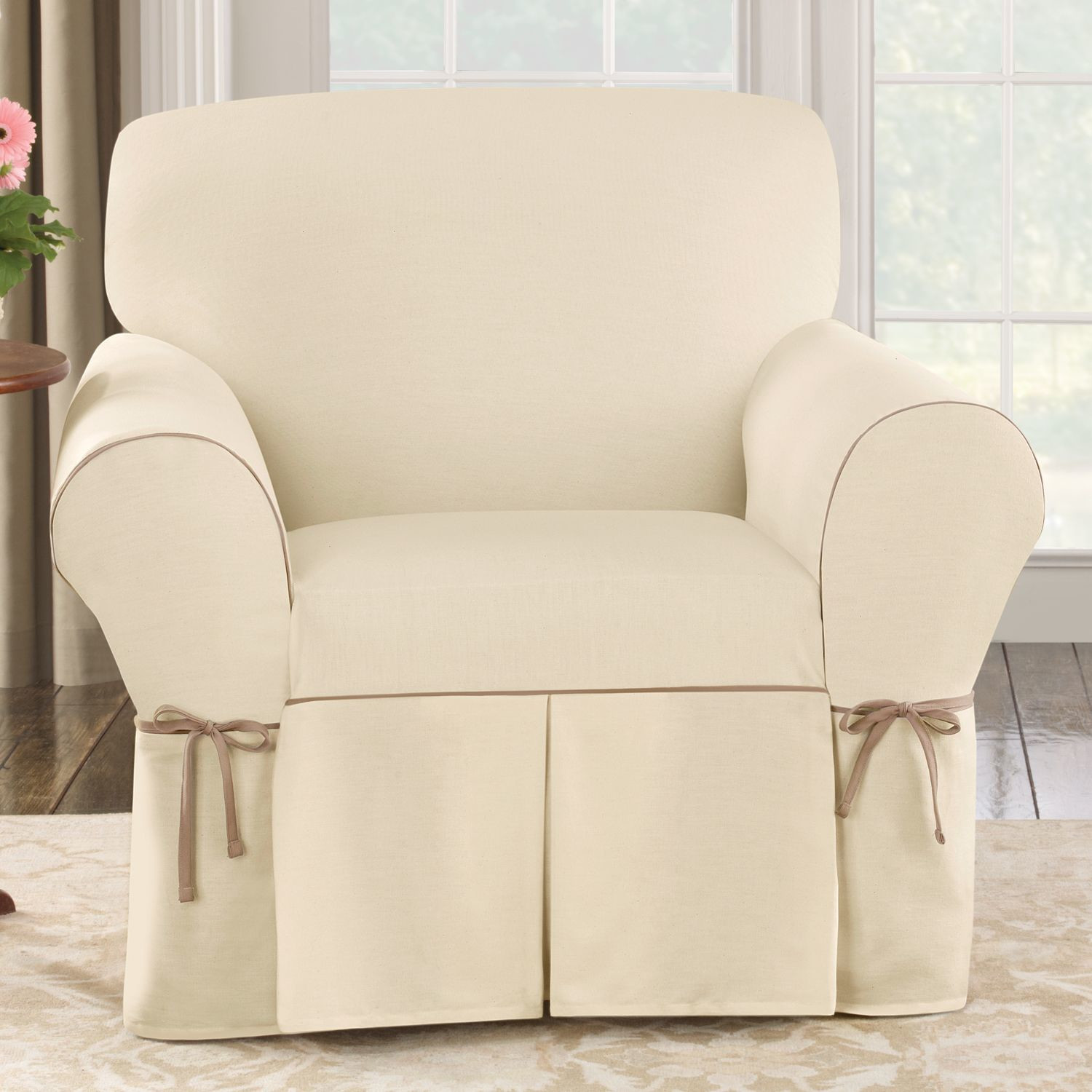 white cotton wing chair slipcover hanging accessories sure fit duck simple