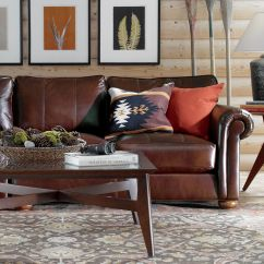 Leather And Fabric Sofa In Same Room Gingham Covers Ethan Allen Furniture | Homesfeed