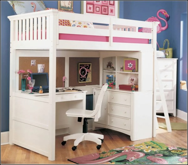 Girls Loft Bed with Desk Underneath