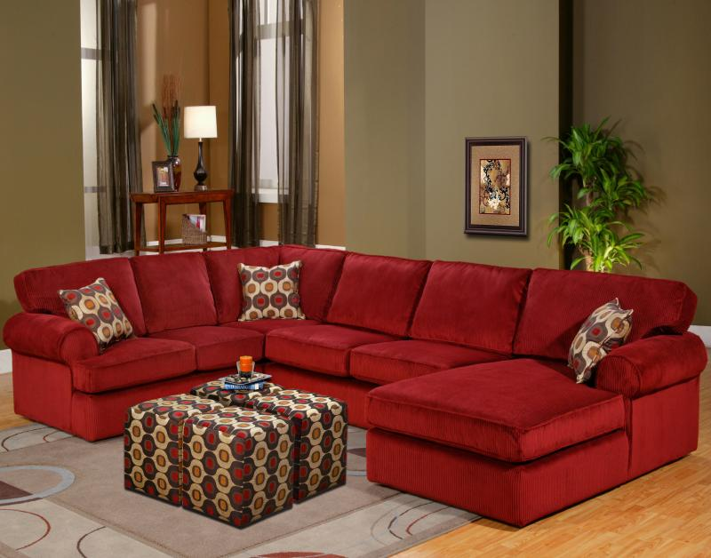 rug size for l shaped sofa college slipcovers red microfiber sectionals highlight your living room ...