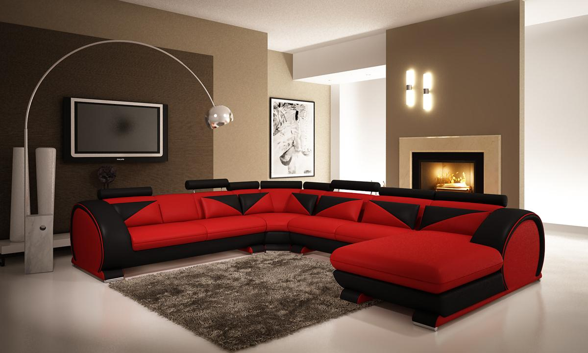 Red Microfiber Sectionals Highlight Your Living Room