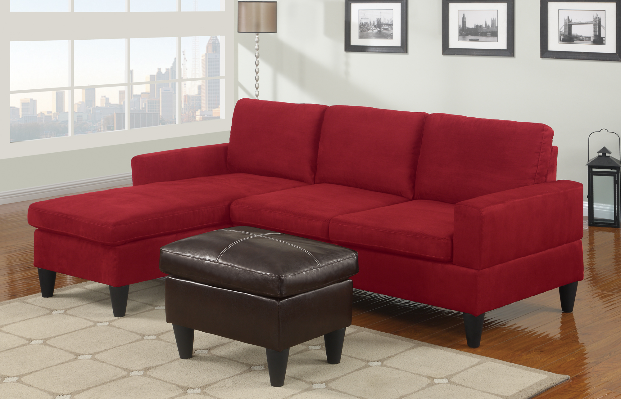 red microfiber reclining sofa 4 tall legs sectionals highlight your living room