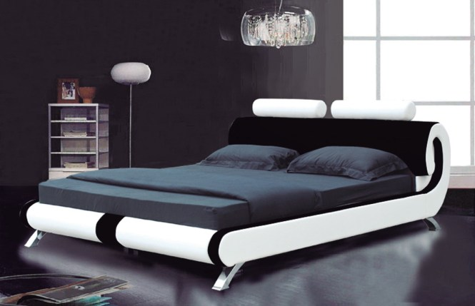 White Simple Modern King Size Bed Frame With Black