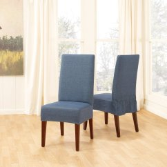 White Slip Covers For Dining Room Chairs Adirondack Chair With Cup Holder Slipcovers That Embellish Your Usual Blue Fabric Made Of Wooden Featuring Drapes On Glass Windows