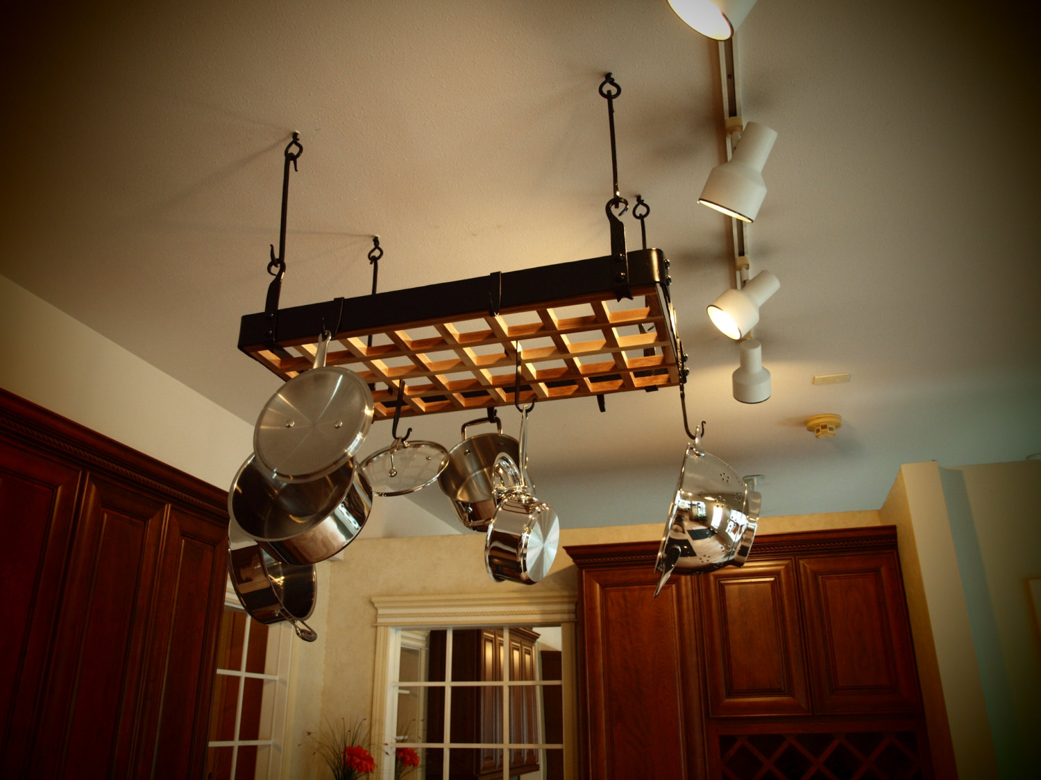 Pot Rack with Lights A Storage Solution for a Small