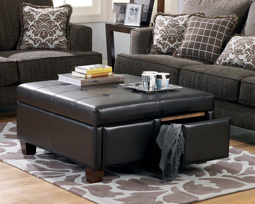 Round Leather Storage Ottoman Coffee Table