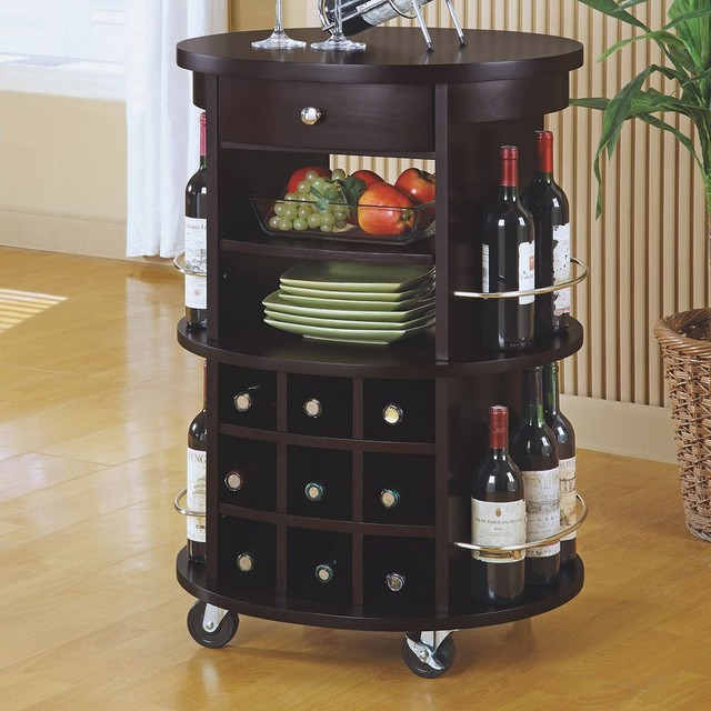 kitchen carts on wheels hands free faucet round bar cart design options for serving drinks | homesfeed