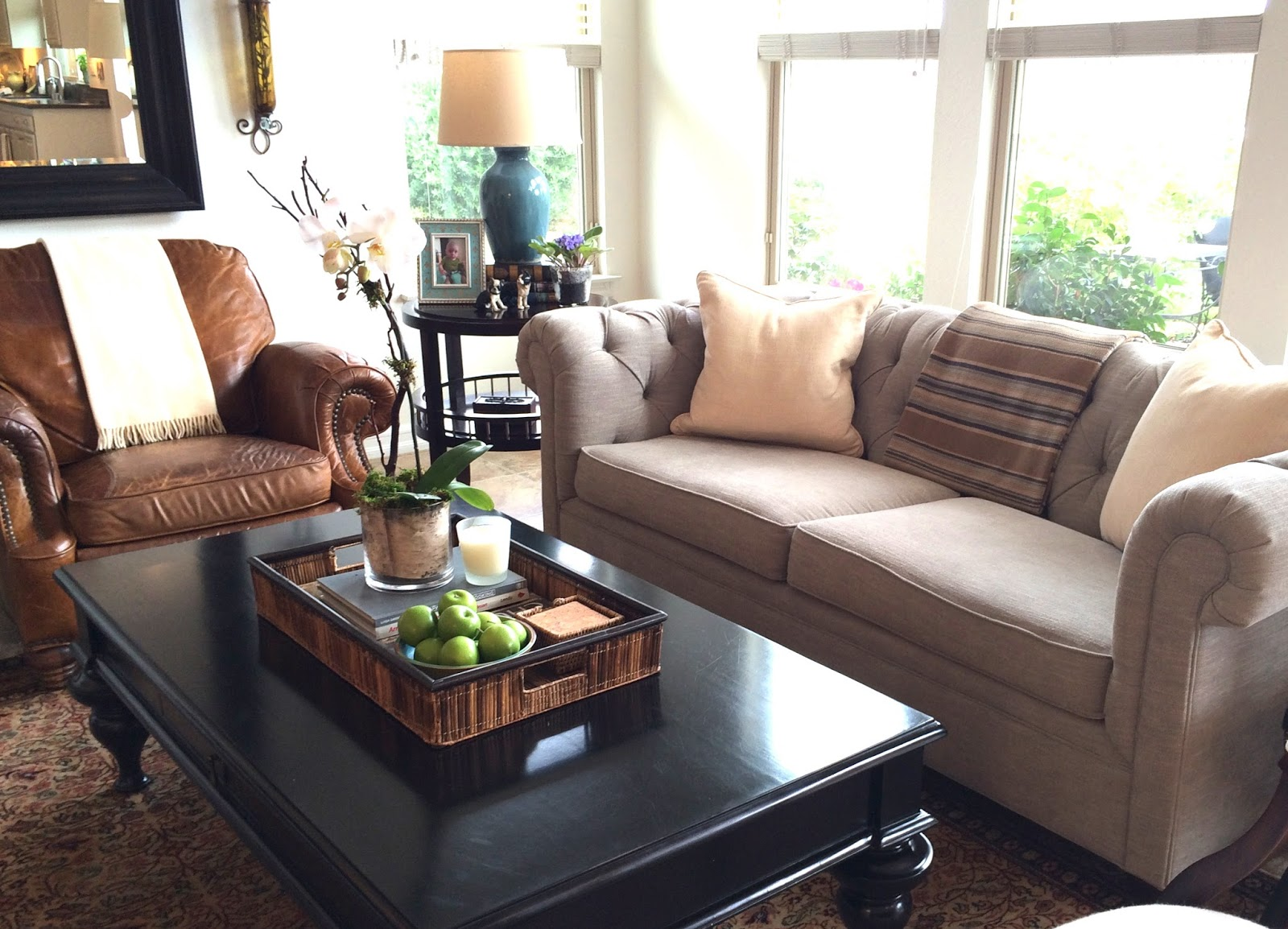 grey sofa black table brown set designs pottery barn manhattan leather