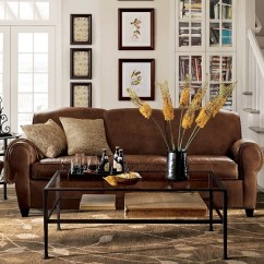 Living Room With Brown Leather Sofa Maze Rattan Natural Milan Corner Set Green Cushions Wonderful Pottery Barn Manhattan   Homesfeed