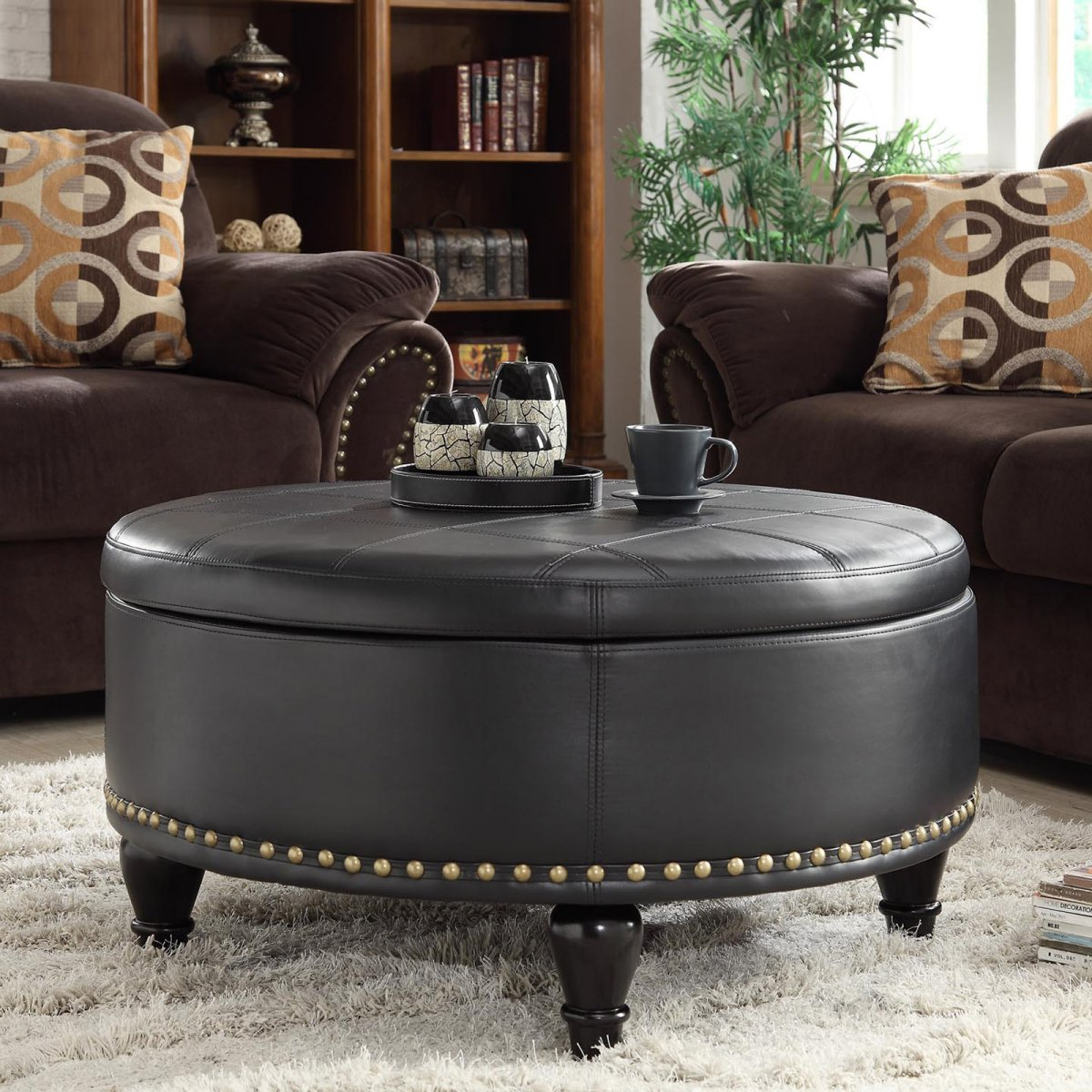 Large Round Leather Ottoman