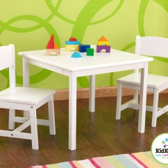 White Toddler Table And Chairs Nursing For Small Rooms Perfect Chair Set Toddlers Homesfeed Simple Rectangular With Green Wallpaper Colorful Rug