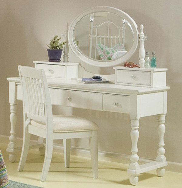 White Makeup Vanity Table with Mirror