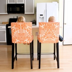 Counter Height Chair Slipcovers Oversized For Two Bar Stool Homesfeed Decorative Orange With Stand Alone Kitchen Isand And Grey Set