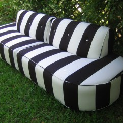 Navy Blue Striped Sofa Metal Frame Double Futon Bed Black And White Home The Honoroak
