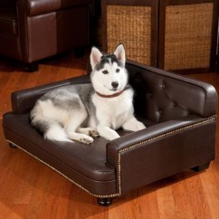 Leather Or Fabric Sofa For Dogs Austin Best Couches Homesfeed Dark Brown Couch With A Lovely Husky