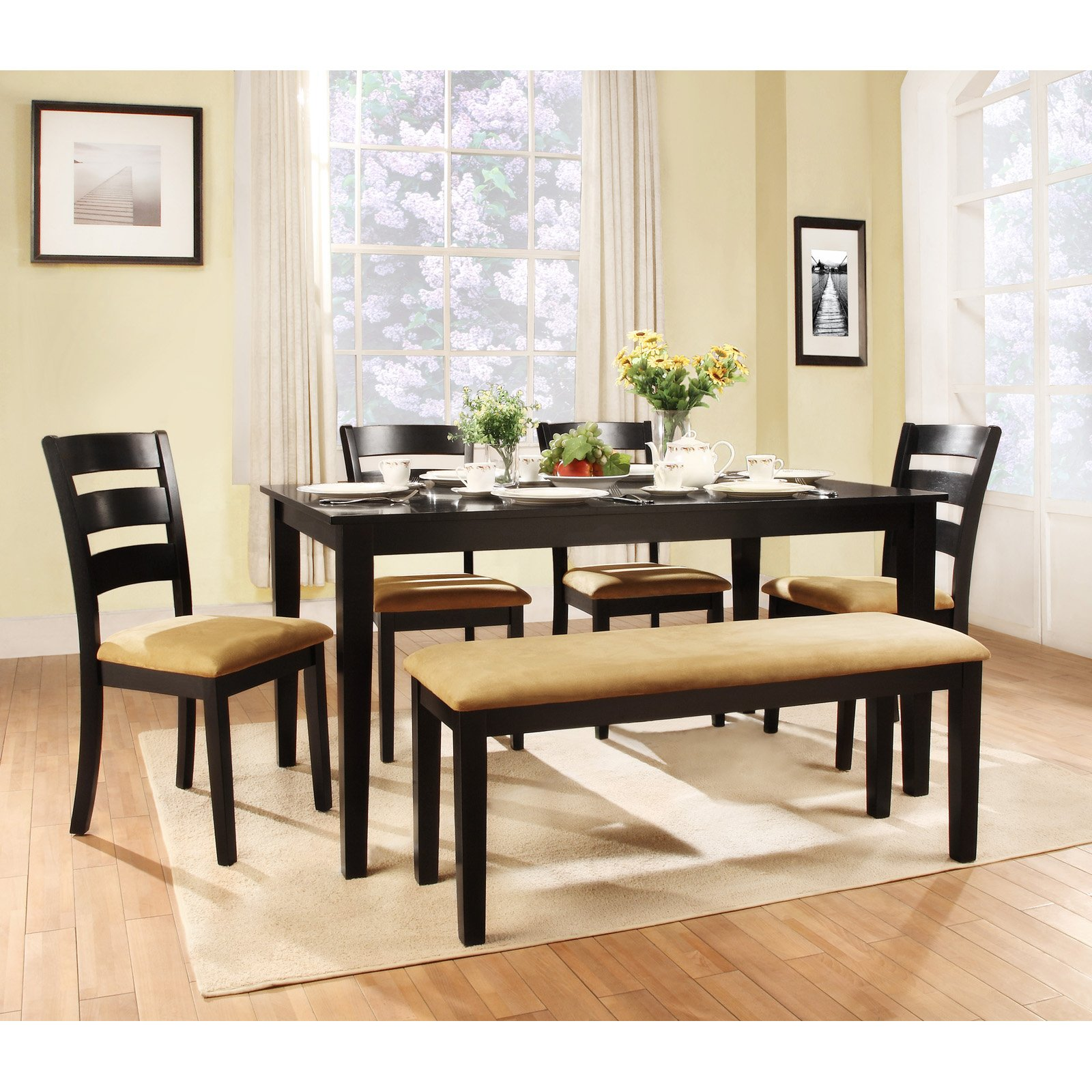 dining set with bench and chairs leather eames chair modern style table ideas homesfeed