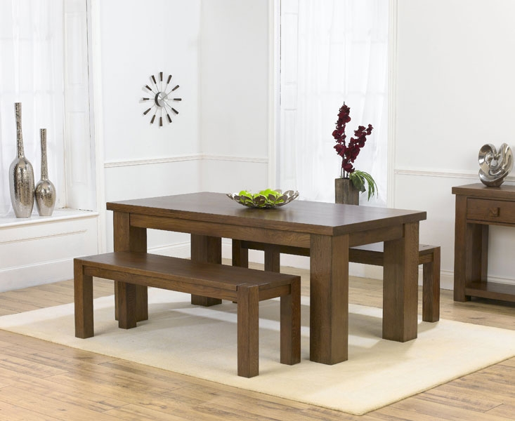 rustic wood dining table with bench