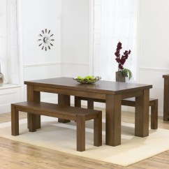 Kitchen Table With Bench And Chairs Ideas Modern Style Dining Set Homesfeed Dark Finished Wood Benches A