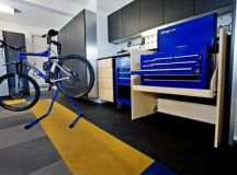 clean and modern garage idea with lifted bike storage