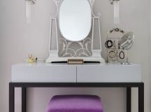 contemporary classic makeup vanity idea modern vanity bench in purple a couple of modern sconces