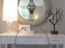 contemporary dressing table in white round shaped mirror with thic beige frame solid acrylic vanity chair