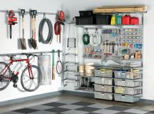 industrial shed idea utility board with under shelves holders and hooks wall mounted bike rack ventilated baskets