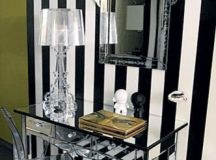 monochrome stripes walls mirrored dressing table wall mounted mirror with mirror frames solid and transparent acrylic vanity chair