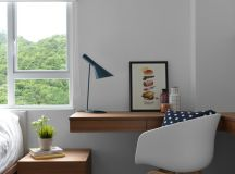 scandinavian home office idea floating wood working table mid century modern chair in white mid century modern wood bedside table dark turquoise table lamp in small size dark toned wood floors