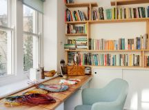 clean lines home office idea wood top working desk light blue sea working chair wood bookshelves