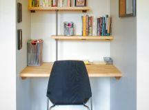 contemporary home office idea wood wall organizers for books floating wood working desk modern working table in black concrete floor white walls