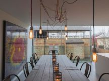 modern industrial dining area for outdoor messy wired pendant lamps darkwood dining table industrial dining chairs