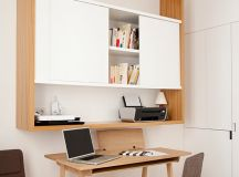 scandinavian desk nook idea clean lines wood working desk clean lines working chair in grey large wood wall organizer with inner white cabinet pale toned wood floors