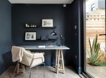 scandinavian style home office dark blue walls white ceilings beige ceramic floors blue sea working desk modern working chair modern black working light fixture black floating shelves