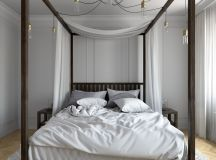 wood bed frame with four poster bed and canopy hanging bulb lights wrapping the bed's beams white bedding treatment pale toned wood floors