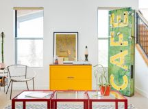 eclectic living room colorful vintage furniture yellow console table mid century modern chair glass top tables with red constructions