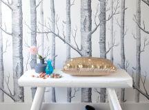 mid century modern bench in white tree wallpaper background black tiles floors