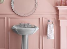 shabby chic bathroom vanity furniture idea round shaped antique mirror vanity with chrome frame white pedestal sink bold pink wall background