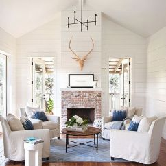 Farmhouse Living Room Chairs Paint Colors For With Fireplace Rustic Ideas You Ll Love Homesfeed White Blue Throw Pillows Round Wood Top Coffee Table Centered