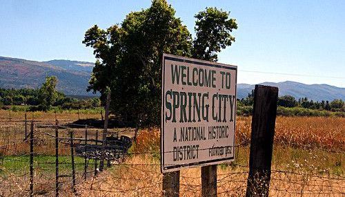 The welcome to Spring City sign in utah.