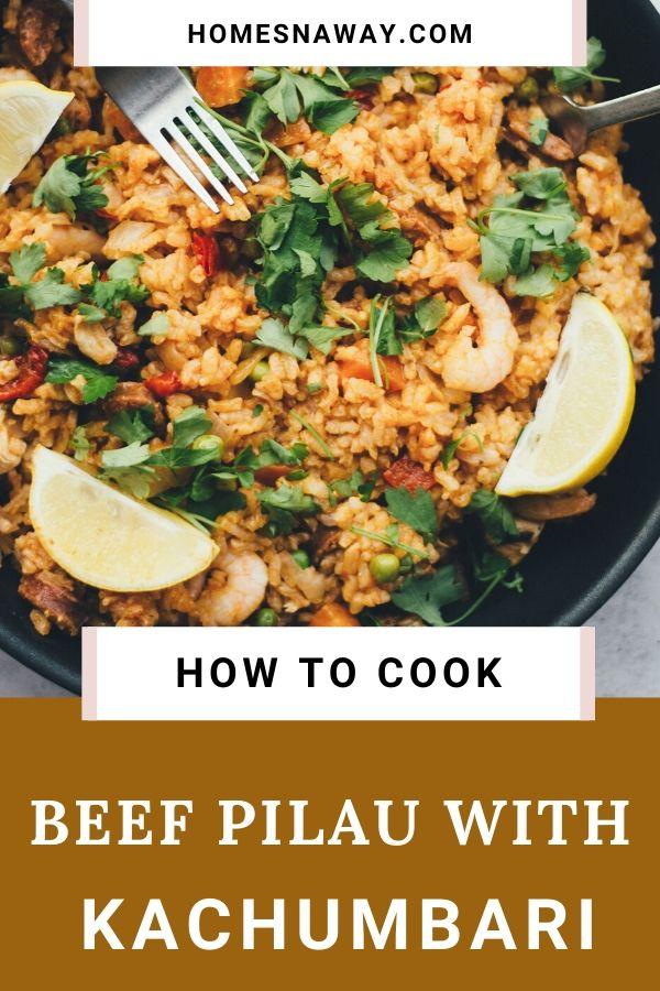 Beef Pilau Served With Kachumbari