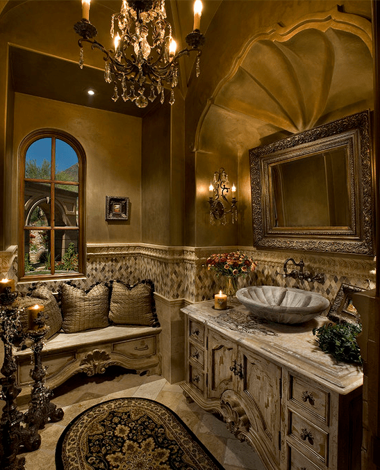 A Look At Some Luxurious Powder Rooms  Homes of the Rich