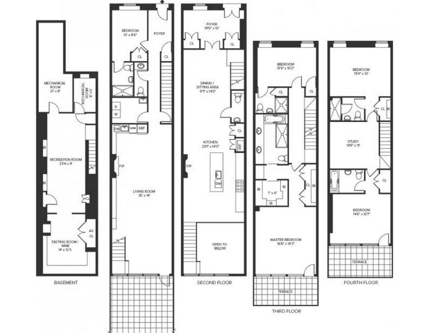 New York City Townhouse Floor Plans