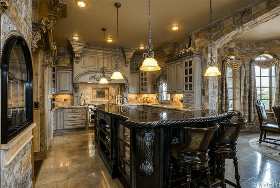 brick floor kitchen how much does a new cost $2.75 million english tudor style & stone mansion in ...