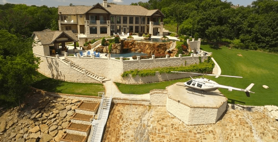 outdoor kitchen bbq faucet single handle lakefront mansion in denison, tx with 2 pools & a helipad ...