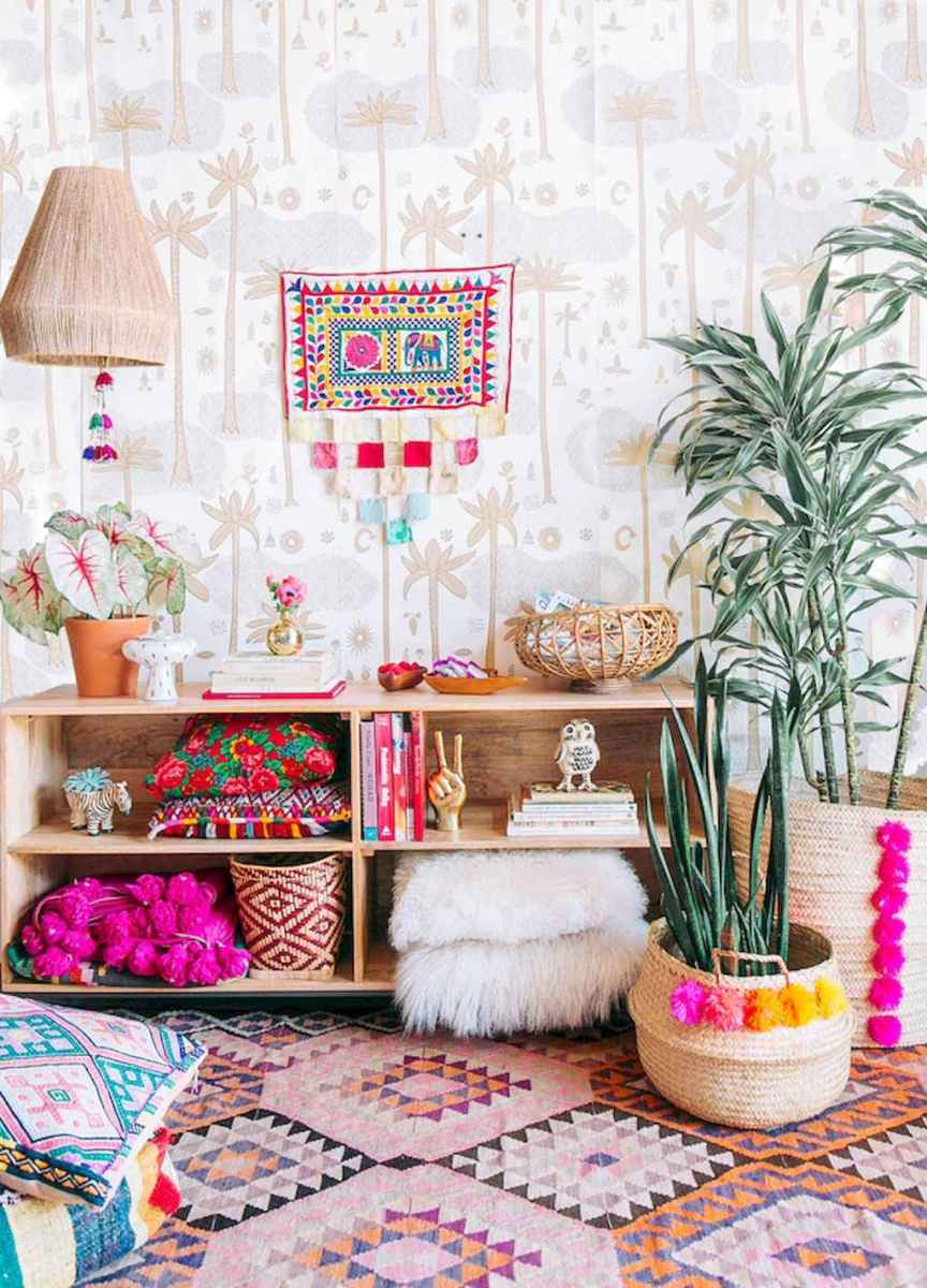 Cozy bohemian style living room decorating ideas (19)