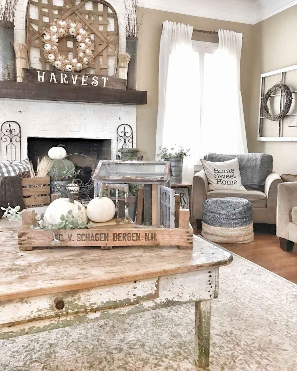 60 Rustic Farmhouse Living Room Design and Decor Ideas ...