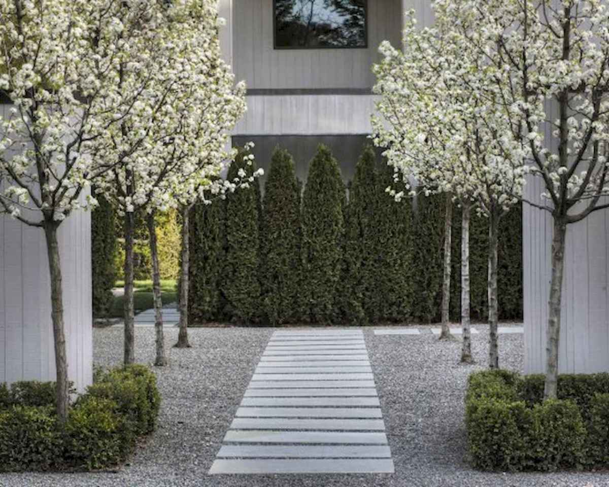 Simple clean modern front yard landscaping ideas (41)